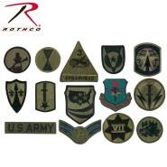 assorted military patches, military patches, army patches, patches, rank patches, division badges, Strategic Air Command, USAF Communicate Command, space command, USAF In Europe, 24th Corps,  Army Corps